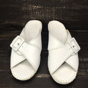 Natural Sport White Leather Sandals Size 8M